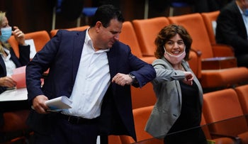 Joint List Chairman Ayman Odeh and Meretz MK Tamar Zandberg in the Knesset, Jerusalem,May 7, 2020