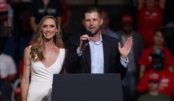 Eric Trump and his wife Lara Trump address the crowd gathered at a campaign rally for U.S. President Donald Trump in Tulsa, Oklahoma, June 20, 2020.