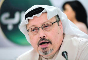 Saudi journalist Jamal Khashoggi speaks during a press conference in Manama, Bahrain, December 18, 2018