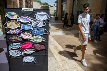 Masks sold at the Mamilla open-air mall in Jerusalem, June 2020.