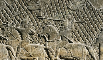 Assyrian civilization, 8th century b.C. Relief depicting warriors on horses. From the Palace of Ashurbanipal at Nineveh, Iraq