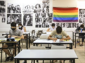 Students sitting their bagrut exam in a high school in Tel Aviv, June 22, 2020.
