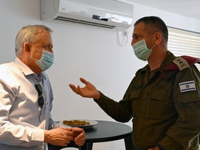 Defense Minister Benny Gantz and Israeli army Chief of Staff Lt. Gen. Aviv Kochavi