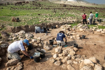 An archaeological dig in Petza'el, in the Jordan Valley, February 24, 2020.