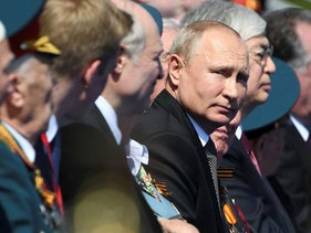 This handout picture provided by Host photo agency shows Russian President Vladimir Putin prior to a military parade, which marks the 75th anniversary of the Soviet victory over Nazi Germany in World War Two, at Red Square in Moscow on June 24, 2020