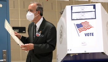 U.S. Rep. Eliot Engel (D-NY) votes at a school near his home in the Riverdale neighborhood of the Bronx borough of New York City, on June 23, 2020.