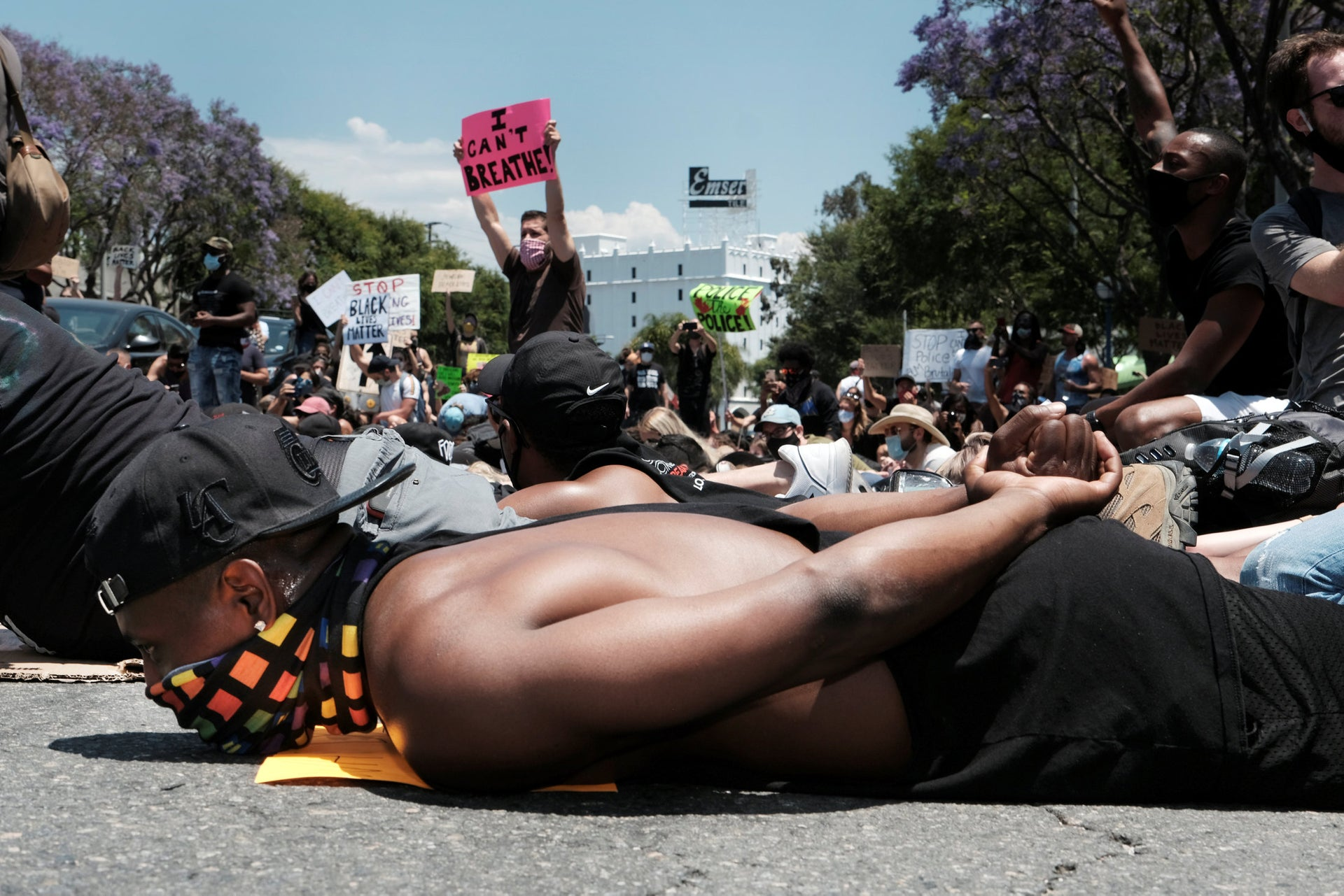 Black Lives Matter protesters in West Hollywood, CA, June 3, 2020,
