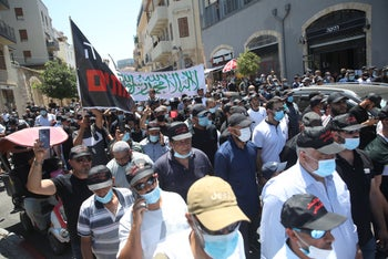 A protest against the demolition of a Muslim burial ground, Jaffa, June 26, 2020