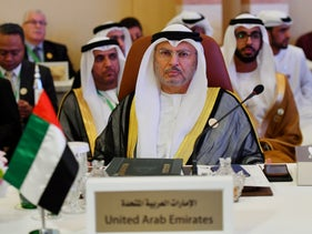 UAE Minister of State for Foreign Affairs Anwar Gargash at a preparatory meeting for the GCC, Arab and Islamic summits in Jeddah, Saudi Arabia, May 29, 2019
