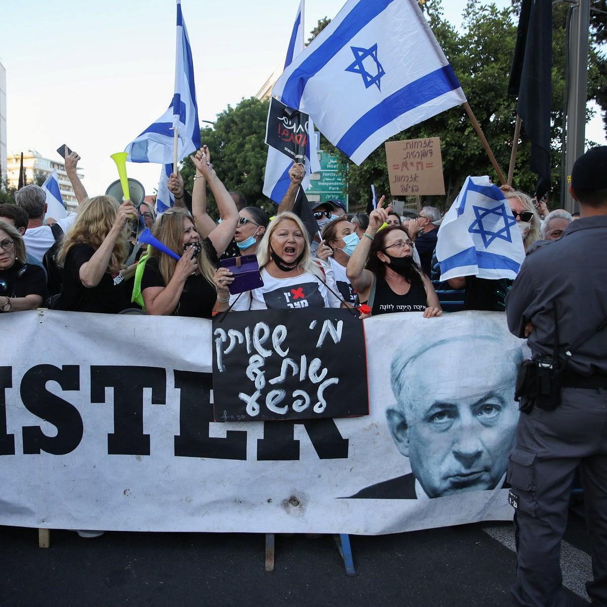 An anti-Netanyahu protest taking place in front of the Prime Minister's Residence in Jerusalem, June 27, 2020.