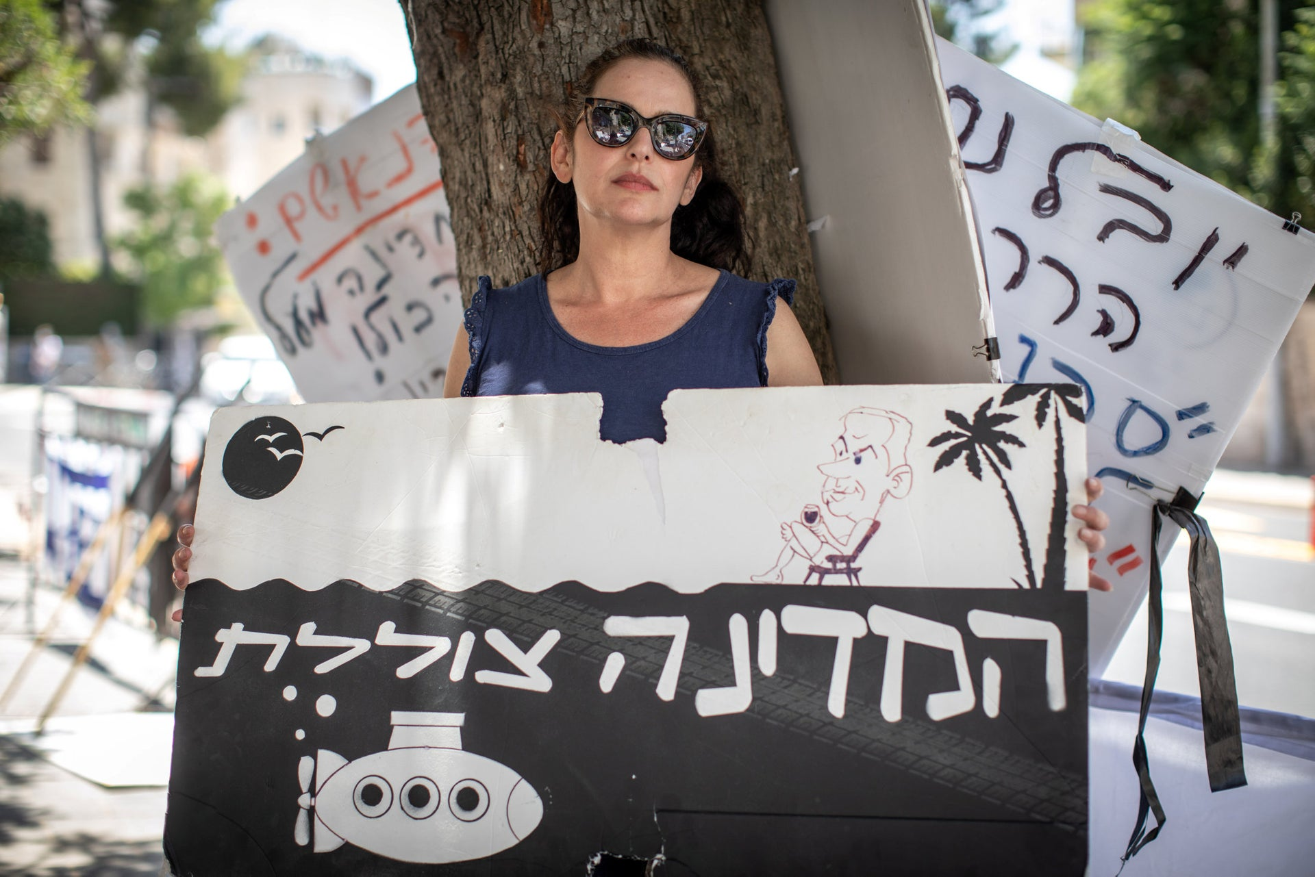 Ori Nahman protesting in Jerusalem, June 16, 2020. 'The country has been seized by a crime organization.'