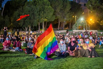 Pride rally in Jerusalem, June 28, 2020.