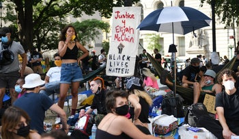 Occupy City Hall protesters outside of New York City Hall, June 25, 2020.