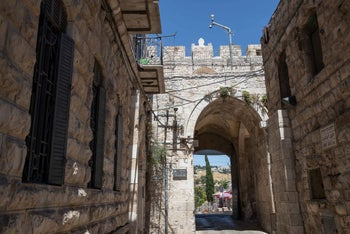 A security camera at Lions Gate in Jerusalem's Old City, June 2020.