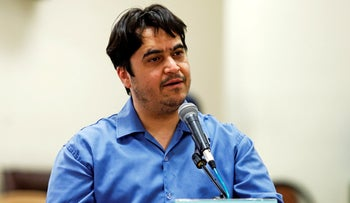 Ruhollah Zam speaks during his trial at the Revolutionary Court, in Tehran, June 2, 2020.