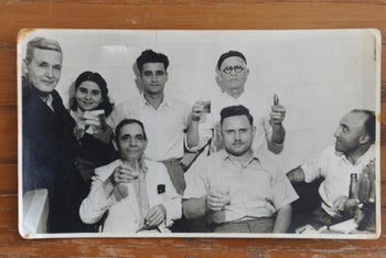 Shimon Elbaz, left, with friends in an undated photo. Elbaz's life was saved in the Arab riots of 1929 by an Arab friend, Karim al-Shatti.