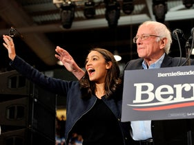 Congresswoman Alexandria Ocasio-Cortez and Presidential Candidate Vermont Senator Bernie Sanders during a campaign rally at the University of New Hampshire in Durham, February 10, 2020.