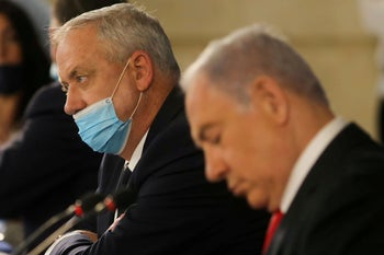 Netanyahu and Gantz attend the weekly cabinet meeting in Jerusalem June 7, 2020.