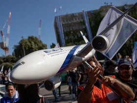 El Al workers protest outside of the Finance Ministry, Jerusalem, May 10, 2020.