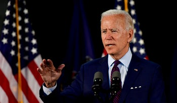 Democratic U.S. presidential candidate and former Vice President Joe Biden speaks during a Biden campaign event at a recreation center in Lancaster, Pennsylvania, U.S., June 25, 2020