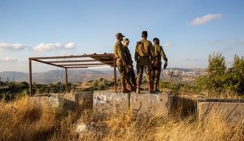 Soldiers near the Israeli settlement of Beit El in the West Bank, June 2, 2020.