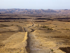 A southern stretch of the pipeline route, near Mitzpeh Ramon, under Mount Ardon.
