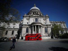 A bus is seen outside of St. Paul's Cathedral, London, Britain, April 13, 2020.