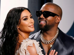 Kim Kardashian and Kanye West at the Vanity Fair Oscar party in Los Angeles, California, February 9, 2020.