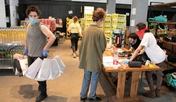 Food packages being organised to be delivered to those in need, Tel Aviv, April 6, 2020