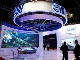 A view of the IAI (Israel Aerospace Industries) booth at the Singapore Airshow in Singapore,  February 11, 2020.