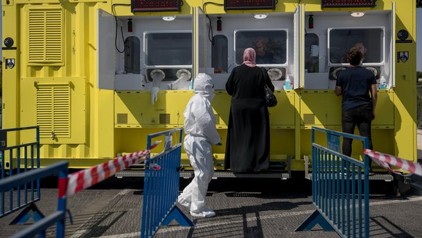 A coronavirus drive-through testing station in Jerusalem, July 4, 2020.