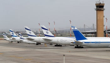 Israel's El Al Airlines Boeing 737 are pictured on the tarmac at Ben Gurion International Airport near Tel Aviv, March 10, 2020.