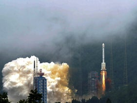 Illustrative: A rocket carrying the last satellite of the Beidou Navigation Satellite System blasts off from the Xichang Satellite Launch Center in southwest China's Sichuan Province, Tuesday, June 23, 2020.