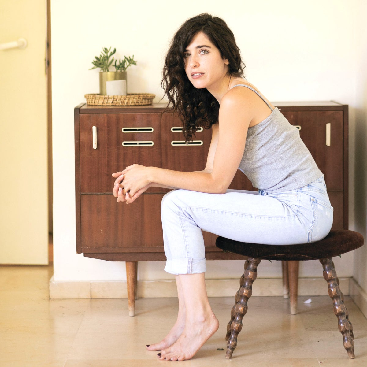 """Cameri Theater actress Avigail Harari, who is playing the female lead in the play """"All the Rivers,"""" based on Israeli author Dorit Rabinyan's controversial book """"Borderlife,"""" in July 2020"""