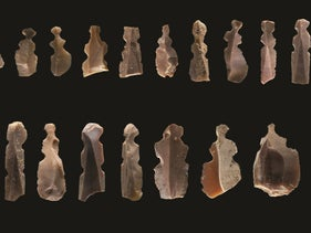 Flints now postulated to be humanoid figurines, found in Neolithic Kharaysin, Jordan