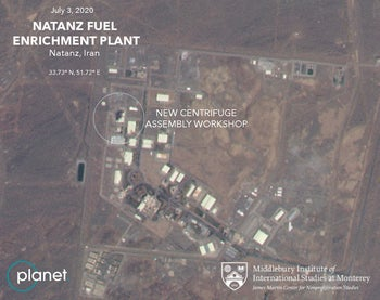 This July 3, 2020, satellite image from Planet Labs Inc. shows a damaged building after a fire and explosion at Iran's Natanz nuclear site.