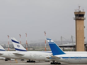 El Al planes are parked at Ben Gurion Airport near Tel Aviv on March 10, 2020.