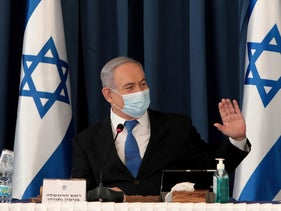 Netanyahu wears a protective mask, amid the spread of the coronavirus disease (COVID-19), as he holds a weekly cabinet meeting at the Foreign Ministry in Jerusalem, July 5, 2020.