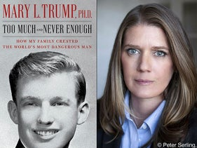 """This combination photo shows the cover art for """"Too Much and Never Enough: How My Family Created the World's Most Dangerous Man"""", left, and a portrait of author Mary L. Trump, Ph.D."""
