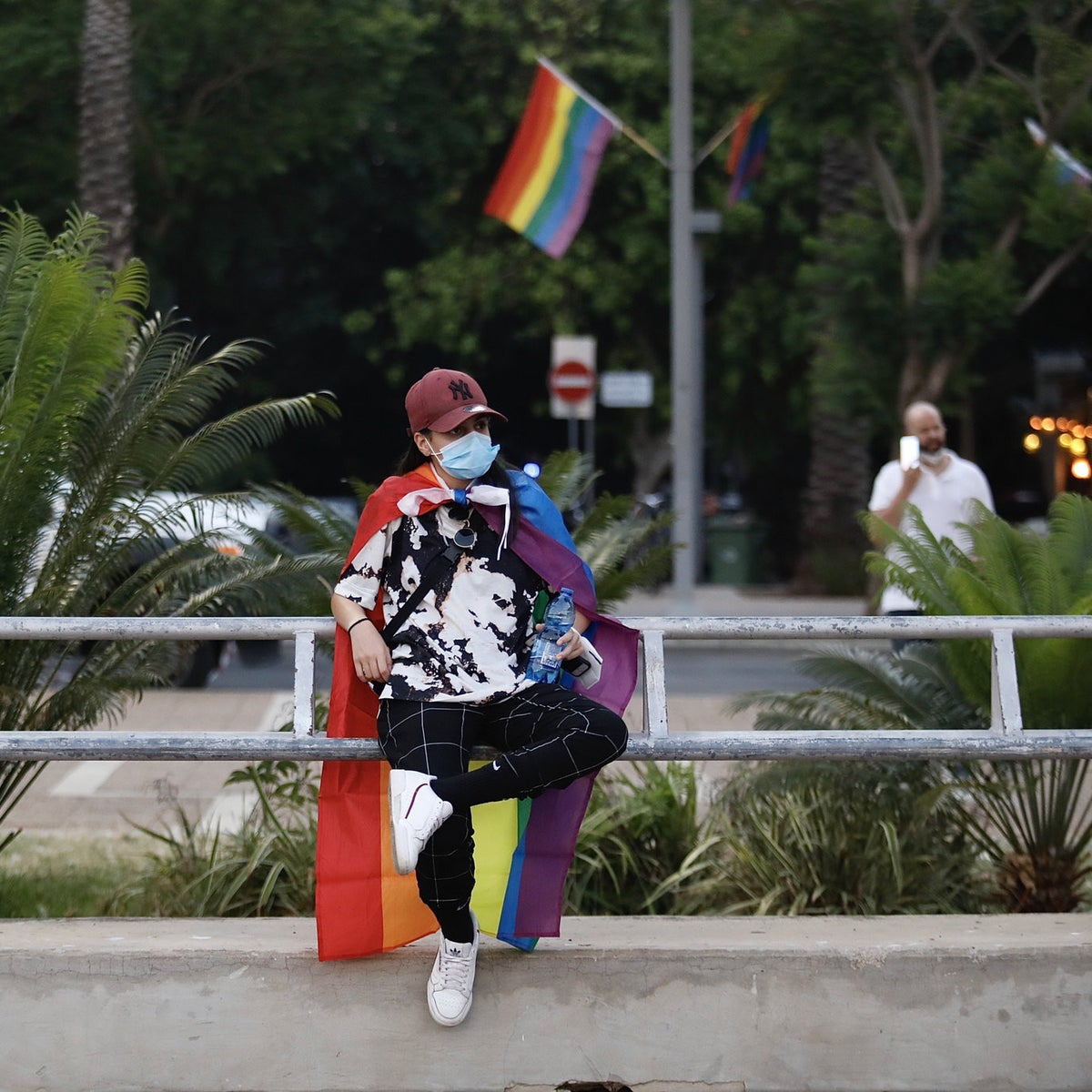A demonstrator at the Pride rally in Tel Aviv, June 28, 2020.
