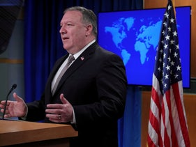U.S. Secretary of State Mike Pompeo speaks during a news conference at the State Department in Washington, U.S., on July 8, 2020.