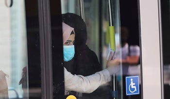 A passenger travels on the light rail in Jerusalem amid the spread of the coronavirus disease (COVID-19), on July 7, 2020.