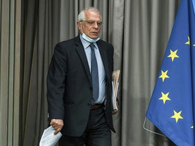 EU Foreign Affairs High Representative Josep Borrell arrives for a press conference following a videoconference with EU Defence Ministers in Brussels on June 16, 2020.