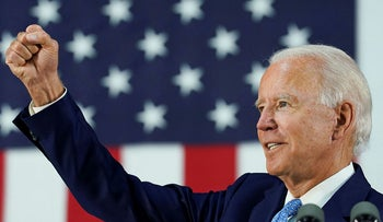 Biden answers questions from reporters at a campaign event in Wilmington, Delaware, U.S., June 30, 2020.