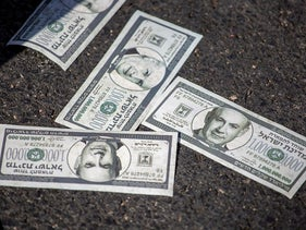 Fake currency at a protest against Netanyahu outside the Prime Minister's Residence in Jerusalem, July 3, 2020.