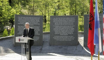 Israeli Ambassador in Albania Noah Gal Gendler speaks during the inauguration of a memorial in Tirana, July 9, 2020.