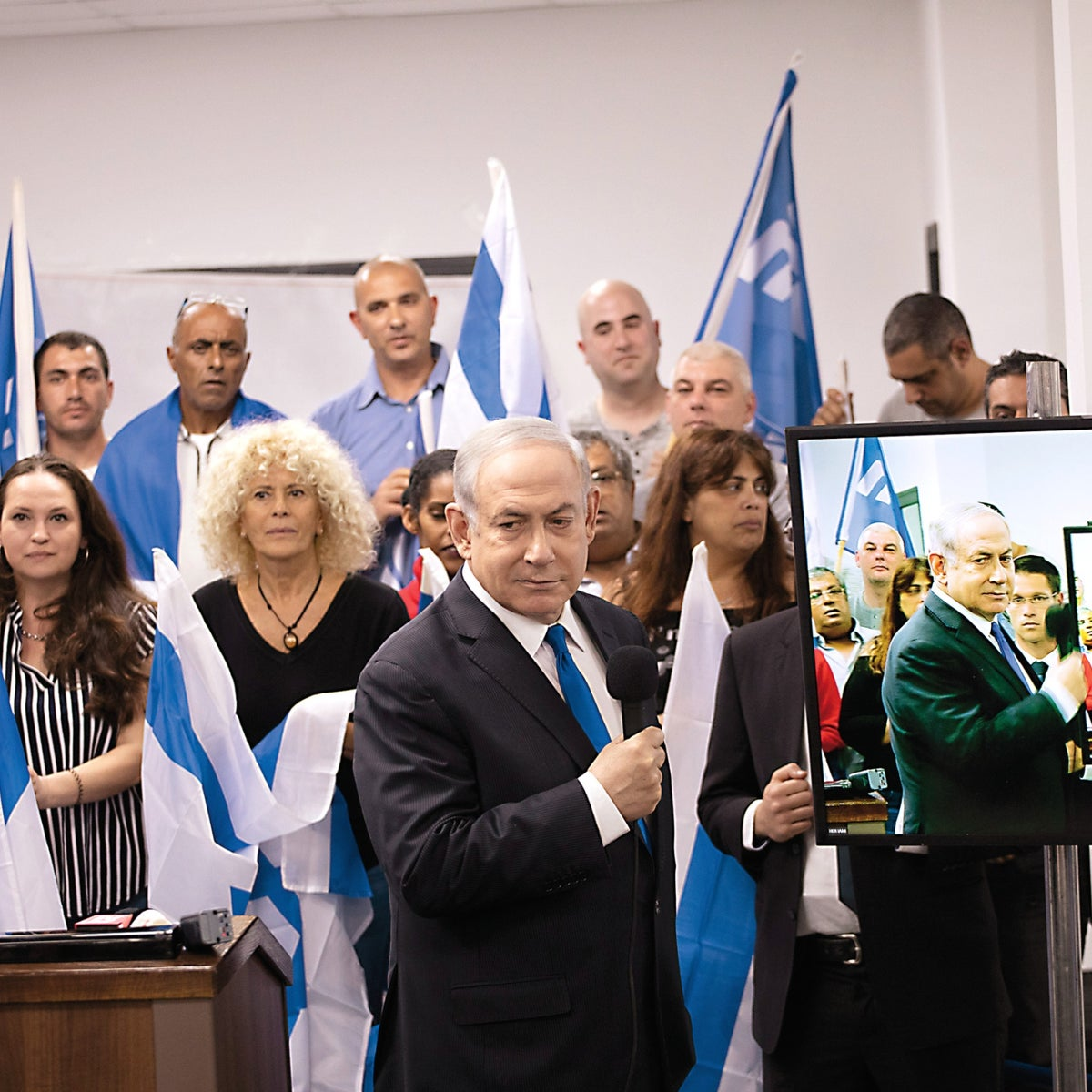 Benjamin Netanyahu with supporters shortly before the March 2020 election.