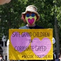 A demonstration led by members of Extinction Rebellion, in London this past May.  Crispin Hughes / Extinction Rebellion / via Reuters