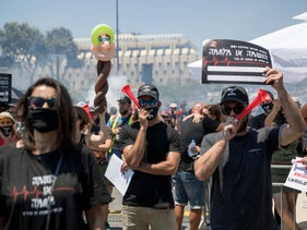 A demonstration by workers of the culture, events industries which were badly affected by the coronavirus in front of the Knesset in Jerusalem, July 2020.