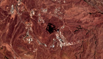 A satellite photo shows the site of an explosion that rattled Iran's capital on June 26, 2020.